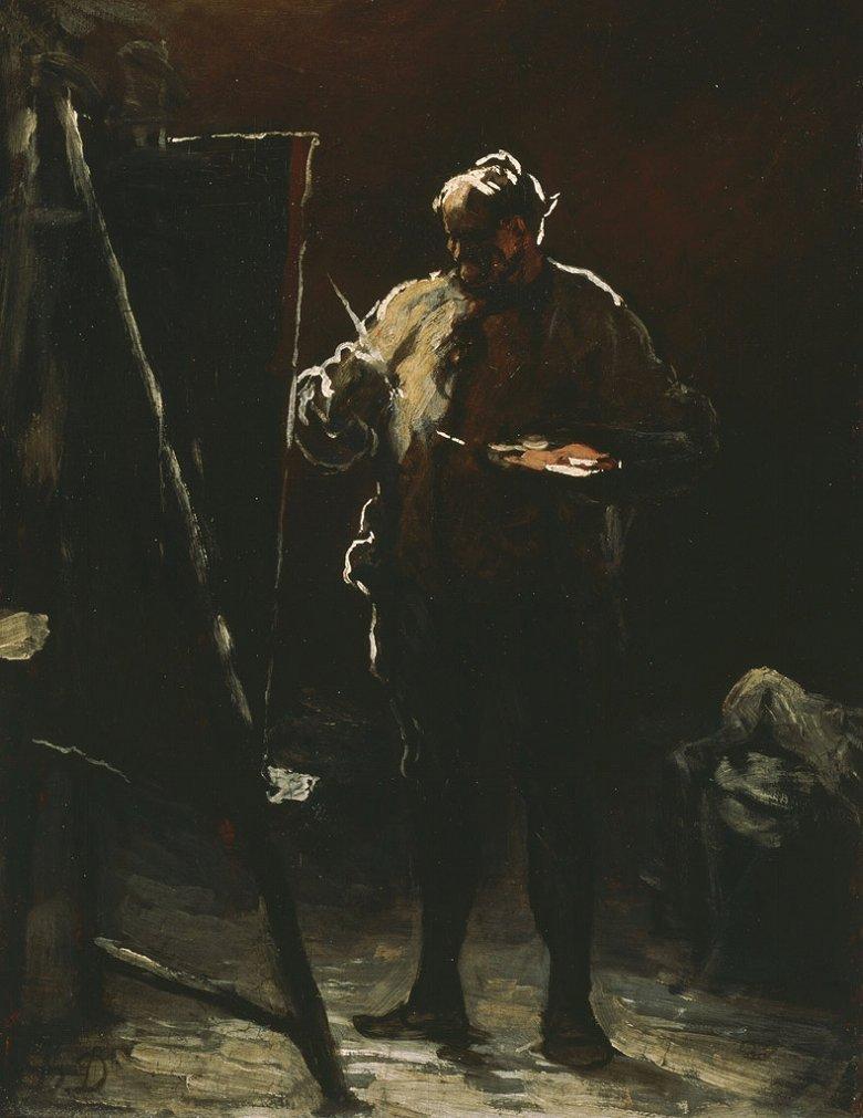 【送料無料】絵画 油彩画複製油絵複製画/オノレ・ドーミエ キャンバスの前の画家 F8サイズ F8号 455x380mm すぐに飾れる豪華額縁付きキャンバス