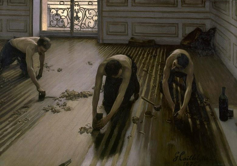 油絵 油彩画 絵画 複製画 ギュスターヴ・カイユボット 床削りの人々 P10サイズ P10号 530x410mm すぐに飾れる豪華額縁付きキャンバス