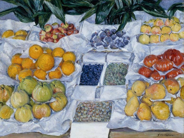 油絵 油彩画 絵画 複製画 ギュスターヴ・カイユボット 店先の果物 P10サイズ P10号 530x410mm すぐに飾れる豪華額縁付きキャンバス