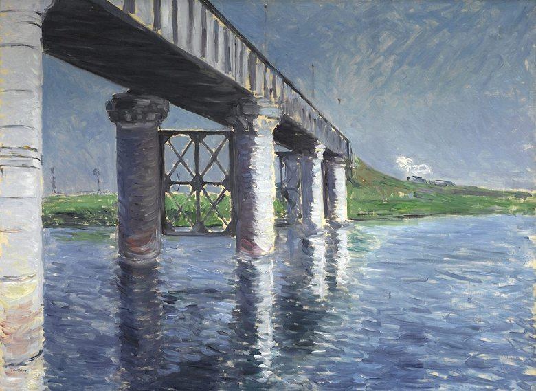 油絵 油彩画 絵画 複製画 ギュスターヴ・カイユボット アルジャントゥイユのセーヌ川と鉄橋 P10サイズ P10号 530x410mm すぐに飾れる豪華額縁付きキャンバス