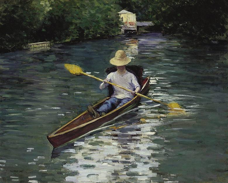 油絵 油彩画 絵画 複製画 ギュスターヴ・カイユボット イエール川のカヌー F10サイズ F10号 530x455mm すぐに飾れる豪華額縁付きキャンバス