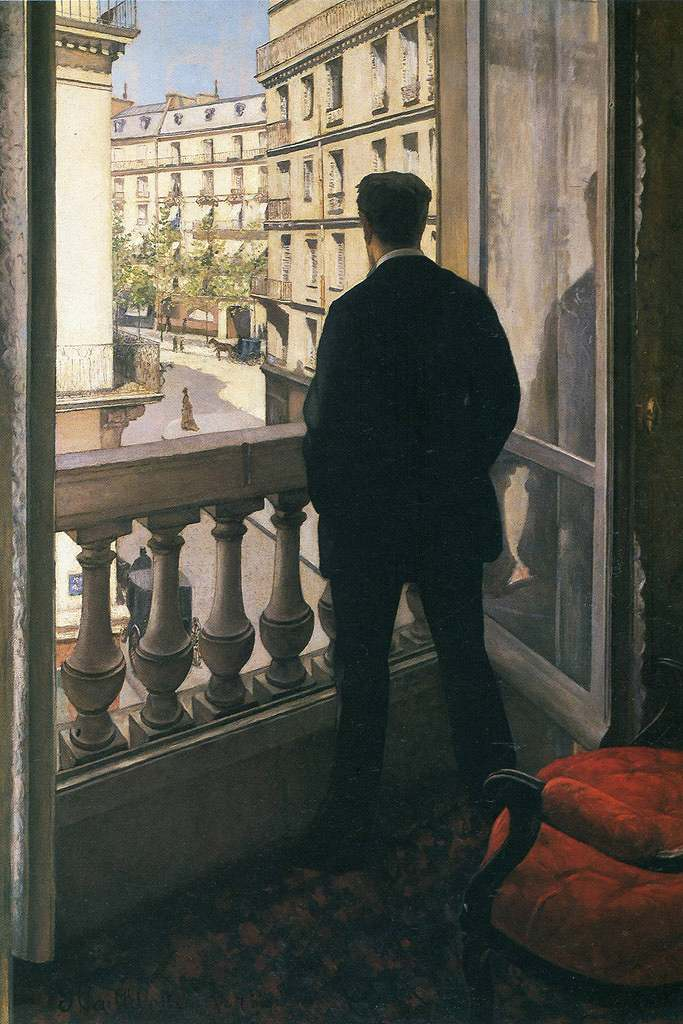 油絵 油彩画 絵画 複製画 ギュスターヴ・カイユボット 窓辺の若い男 M10サイズ M10号 530x333mm すぐに飾れる豪華額縁付きキャンバス
