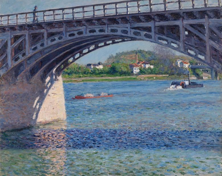 油絵 油彩画 絵画 複製画 ギュスターヴ・カイユボット アルジャントゥイユの橋とセーヌ川 F10サイズ F10号 530x455mm すぐに飾れる豪華額縁付きキャンバス