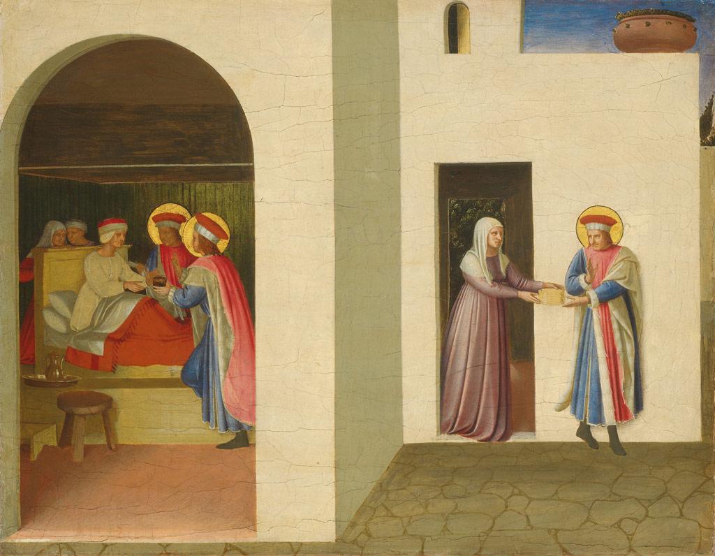 【条件付き送料無料】絵画 油彩画複製油絵複製画/フラ・アンジェリコ 聖コスマスと聖ダミアヌスによるパラディアの癒し F30サイズ 1066x883mm 【すぐに飾れる豪華額縁付 キャンバス】