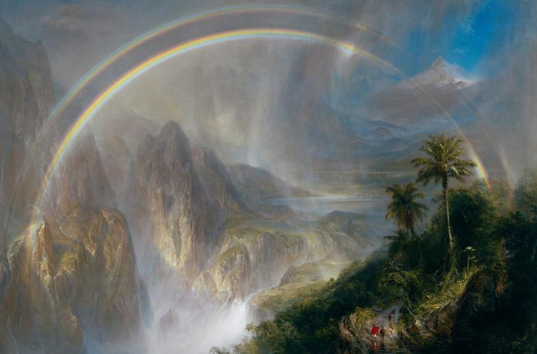絵画 インテリア 額入り 壁掛け複製油絵 フレデリック・エドウィン・チャーチ 熱帯地方の雨季 M15サイズ M15号 652x455mm 油彩画 複製画 選べる額縁 選べるサイズ