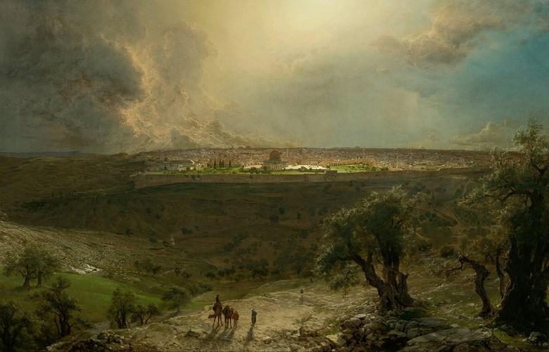 絵画 インテリア 額入り 壁掛け複製油絵 フレデリック・エドウィン・チャーチ オリーブ山からのエルサレム M20サイズ M20号 727x500mm 絵画 インテリア 額入り 壁掛け 油絵