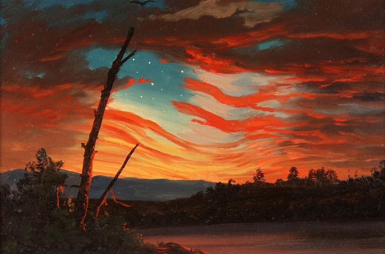 絵画 インテリア 額入り 壁掛け複製油絵 フレデリック・エドウィン・チャーチ 空の星条旗 M15サイズ M15号 652x455mm 油彩画 複製画 選べる額縁 選べるサイズ