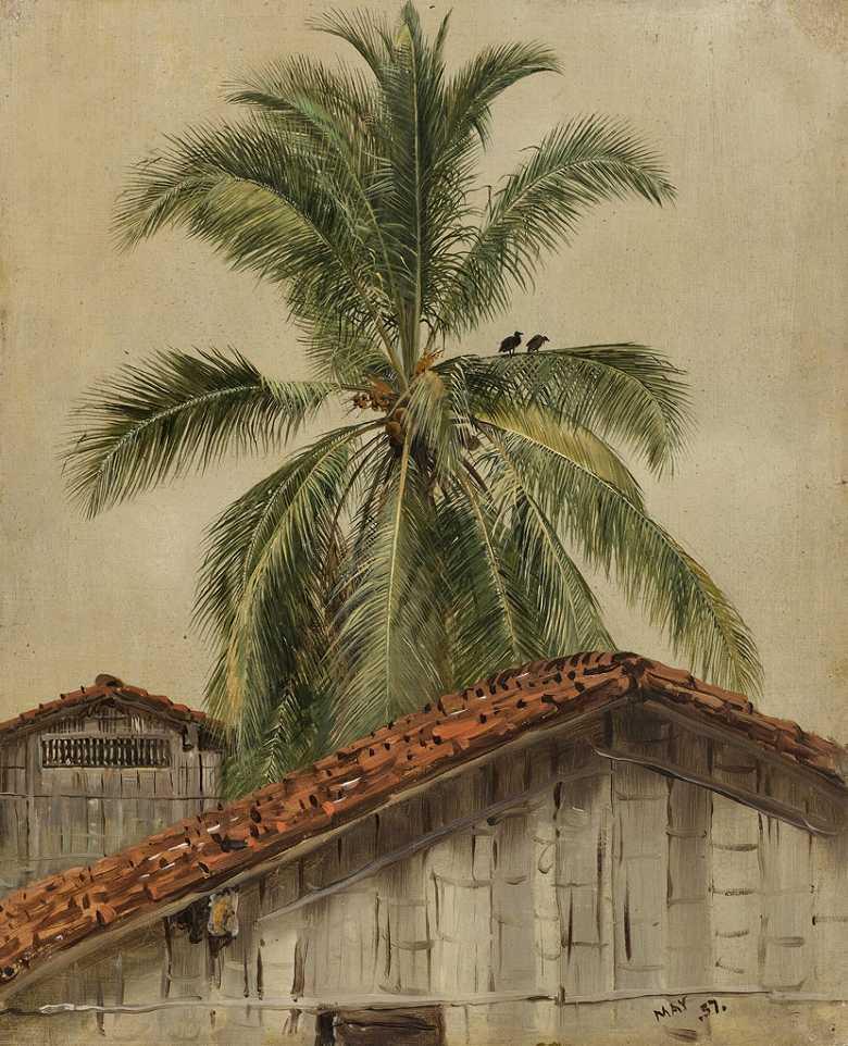 フレデリック・エドウィン・チャーチ ヤシの木と屋根、エクアドル F30サイズ F30号 910x727mm 条件付き送料無料  額縁付絵画 インテリア 額入り 壁掛け複製油絵 フレデリック・エドウィン・チャーチ