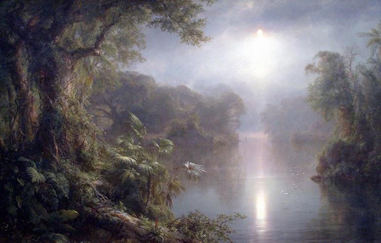 絵画 インテリア 額入り 壁掛け複製油絵 フレデリック・エドウィン・チャーチ 光の川 M15サイズ M15号 652x455mm 油彩画 複製画 選べる額縁 選べるサイズ
