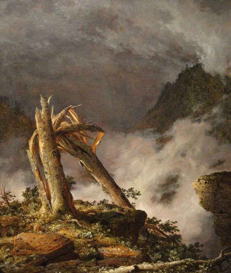 油絵 油彩画 絵画 複製画 フレデリック・エドウィン・チャーチ 山の嵐 F10サイズ F10号 530x455mm すぐに飾れる豪華額縁付きキャンバス