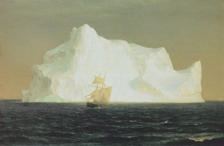 油絵 油彩画 絵画 複製画 フレデリック・エドウィン・チャーチ 氷山 M10サイズ M10号 530x333mm すぐに飾れる豪華額縁付きキャンバス