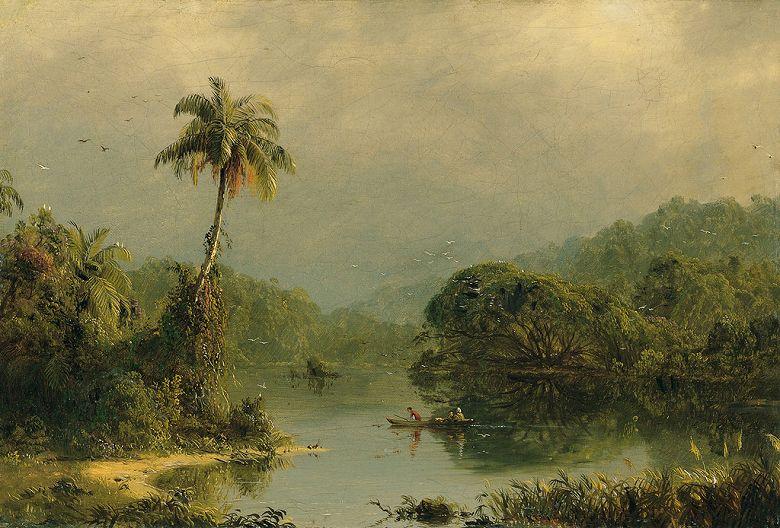 油絵 油彩画 絵画 複製画 フレデリック・エドウィン・チャーチ 熱帯風景 P10サイズ P10号 530x410mm すぐに飾れる豪華額縁付きキャンバス