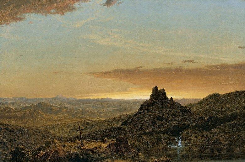 油絵 油彩画 絵画 複製画 フレデリック・エドウィン・チャーチ 荒野の十字架 M10サイズ M10号 530x333mm すぐに飾れる豪華額縁付きキャンバス