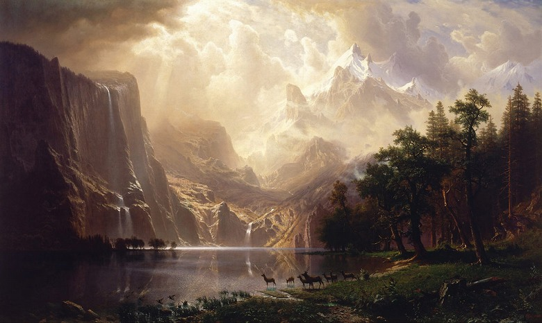 【送料無料】絵画 油彩画複製油絵複製画/アルバート・ビアスタット シエラネバダ山脈の間、カリフォルニア州 F8サイズ F8号 455x380mm すぐに飾れる豪華額縁付きキャンバス