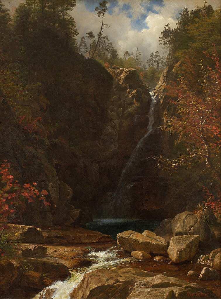 油絵 油彩画 絵画 複製画 アルバート・ビアスタット グレン・エリスの滝 P10サイズ P10号 530x410mm すぐに飾れる豪華額縁付きキャンバス