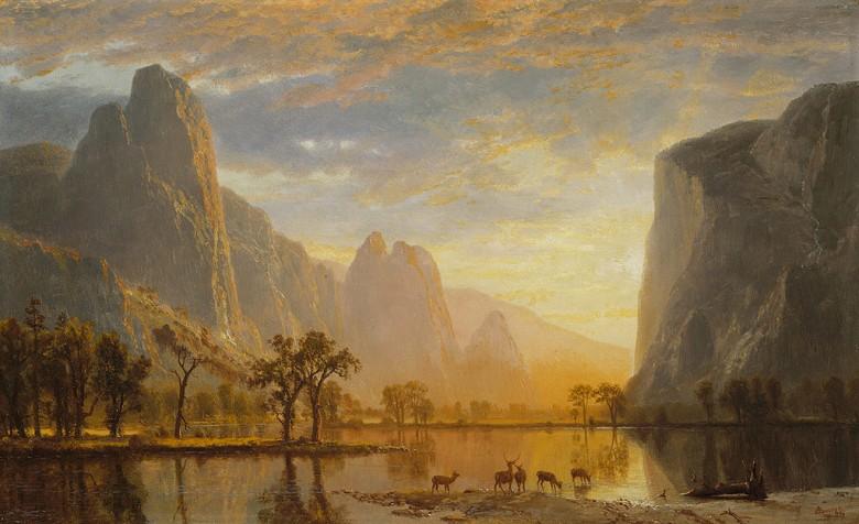 油絵 油彩画 絵画 複製画 アルバート・ビアスタット ヨセミテ渓谷 M10サイズ M10号 530x333mm すぐに飾れる豪華額縁付きキャンバス