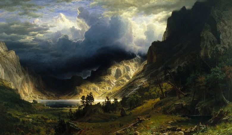 絵画 インテリア 額入り 壁掛け複製油絵アルバート・ビアスタット ロッキー山脈の嵐 F15サイズ F15号 652x530mm 油彩画 複製画 選べる額縁 選べるサイズ