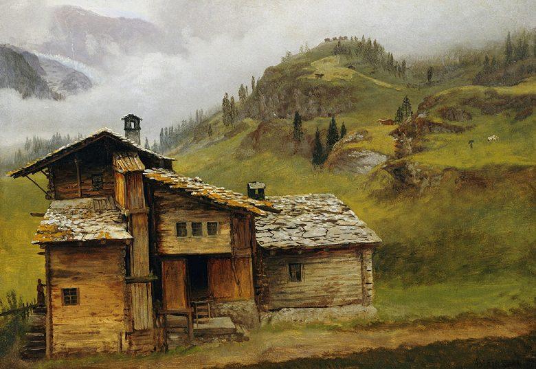 絵画 インテリア 額入り 壁掛け複製油絵アルバート・ビアスタット 山の家 P20サイズ P20号 727x530mm 絵画 インテリア 額入り 壁掛け 油絵