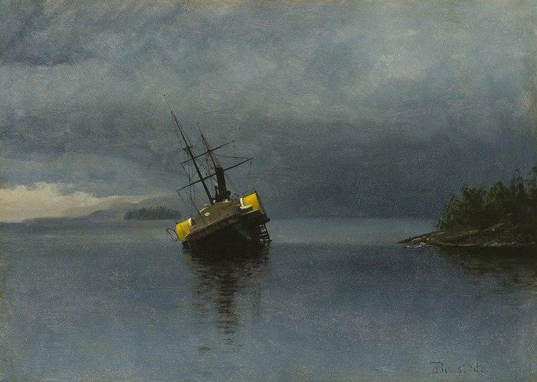 絵画 インテリア 額入り 壁掛け複製油絵アルバート・ビアスタット 難破船、アラスカ P20サイズ P20号 727x530mm 絵画 インテリア 額入り 壁掛け 油絵