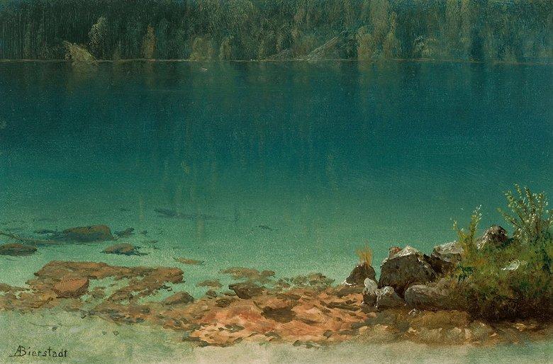 絵画 インテリア 額入り 壁掛け複製油絵アルバート・ビアスタット 湖の風景 M20サイズ M20号 727x500mm 絵画 インテリア 額入り 壁掛け 油絵