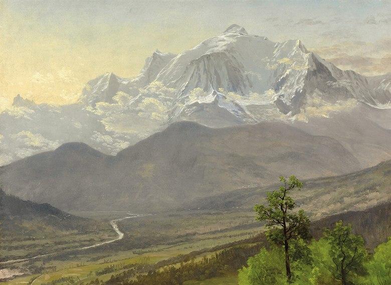 油絵 油彩画 絵画 複製画 アルバート・ビアスタット モンブラン P10サイズ P10号 530x410mm すぐに飾れる豪華額縁付きキャンバス