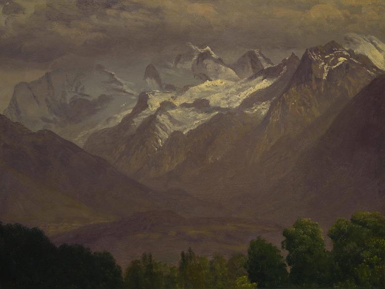 油絵 アルバート・ビアスタット 山脈 P12サイズ P12号 606x455mm 油彩画 絵画 複製画 選べる額縁 選べるサイズ
