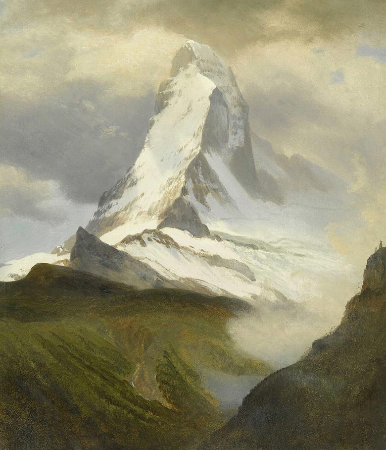 油絵 油彩画 絵画 複製画 アルバート・ビアスタット マッターホルン F10サイズ F10号 530x455mm すぐに飾れる豪華額縁付きキャンバス