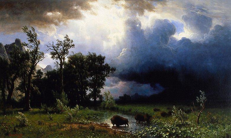 油絵 油彩画 絵画 複製画 アルバート・ビアスタット 牛の群れ、嵐の接近 F10サイズ F10号 530x455mm すぐに飾れる豪華額縁付きキャンバス