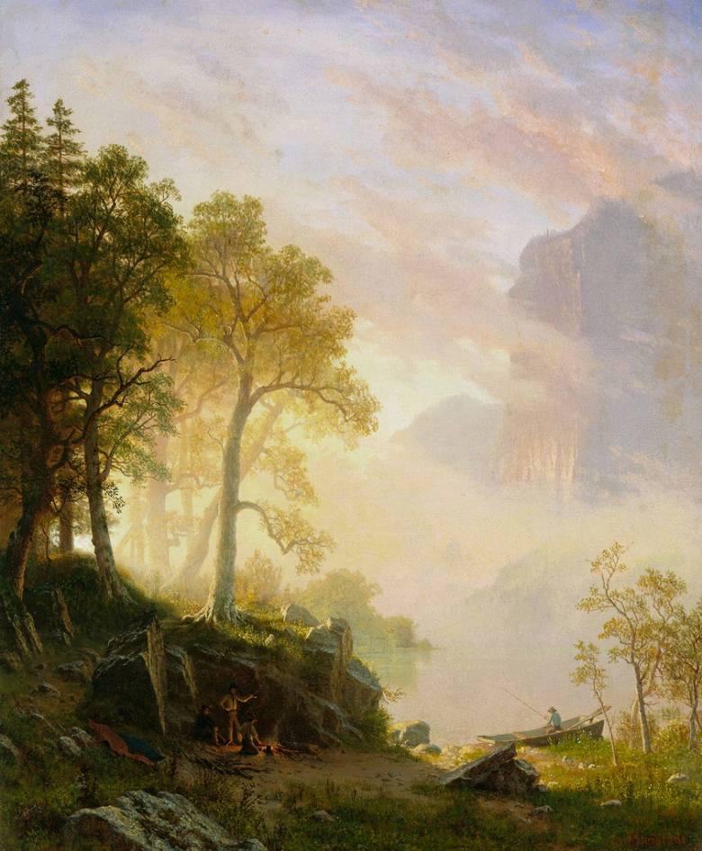 油絵 油彩画 絵画 複製画 アルバート・ビアスタット ヨセミテのマーセド川 F10サイズ F10号 530x455mm すぐに飾れる豪華額縁付きキャンバス