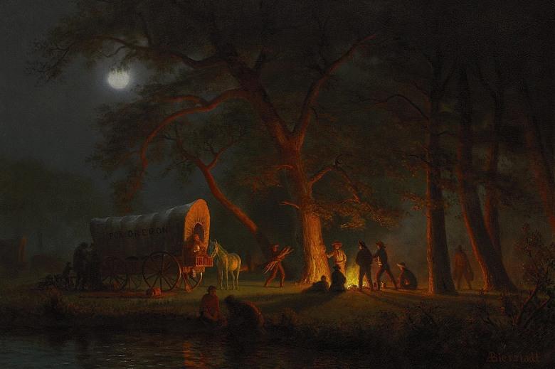 油絵 油彩画 絵画 複製画 アルバート・ビアスタット オレゴン・トレイル M10サイズ M10号 530x333mm すぐに飾れる豪華額縁付きキャンバス