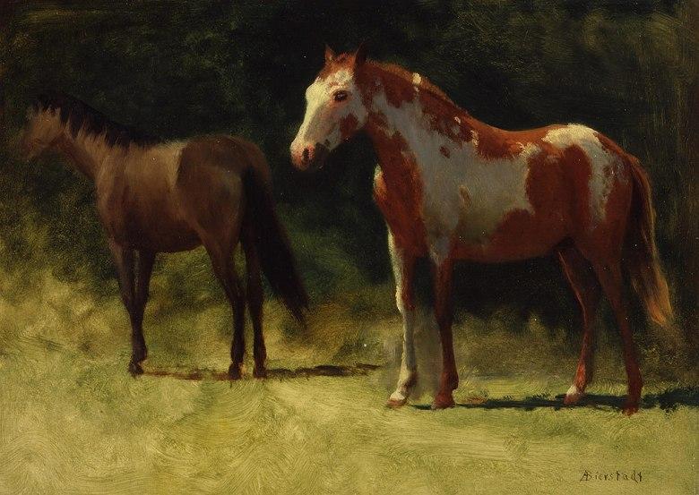 絵画 インテリア 額入り 壁掛け複製油絵アルバート・ビアスタット 二匹の馬 P15サイズ P15号 652x500mm 油彩画 複製画 選べる額縁 選べるサイズ