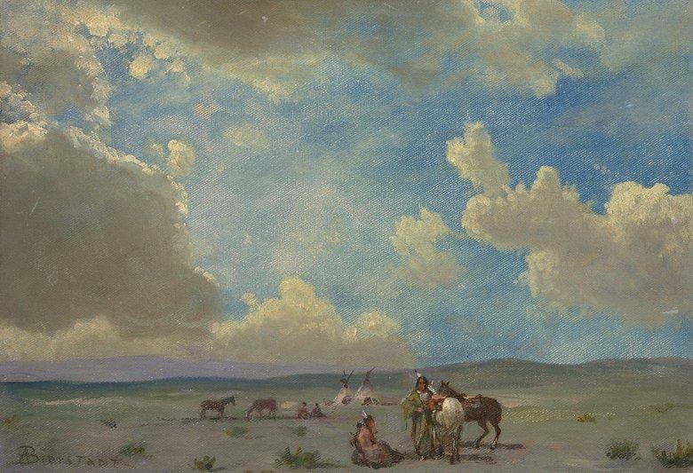 油絵 油彩画 絵画 複製画 アルバート・ビアスタット インディアンの野営 P10サイズ P10号 530x410mm すぐに飾れる豪華額縁付きキャンバス