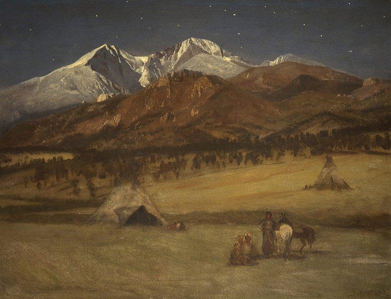 絵画 インテリア 額入り 壁掛け複製油絵アルバート・ビアスタット インディアンの野営、夜 F20サイズ F20号 727x606mm 絵画 インテリア 額入り 壁掛け 油絵