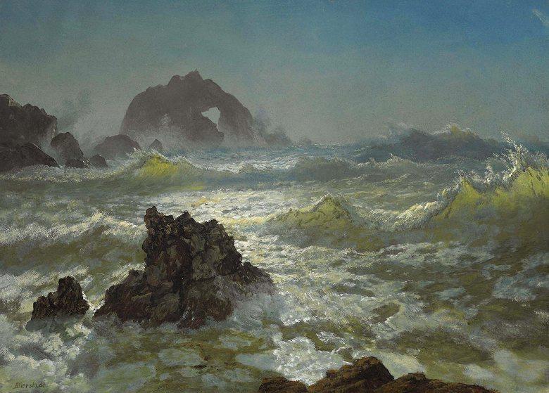 油絵 油彩画 絵画 複製画 アルバート・ビアスタット シールロック、カリフォルニア州 P10サイズ P10号 530x410mm すぐに飾れる豪華額縁付きキャンバス