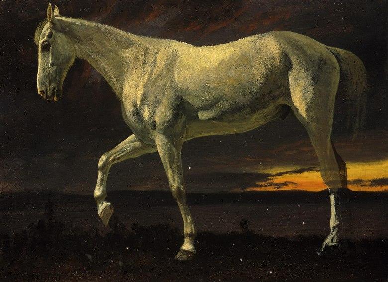 アルバート・ビアスタット 夕日と白馬 P30サイズ P30号 910x653mm 条件付き送料無料 絵画 インテリア 額入り 壁掛け複製油絵アルバート・ビアスタット