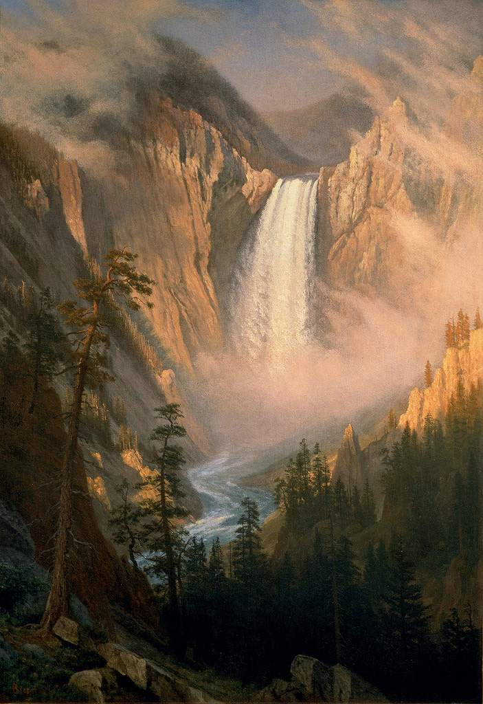 油絵 油彩画 絵画 複製画 アルバート・ビアスタット イエローストーン滝 P10サイズ P10号 530x410mm すぐに飾れる豪華額縁付きキャンバス