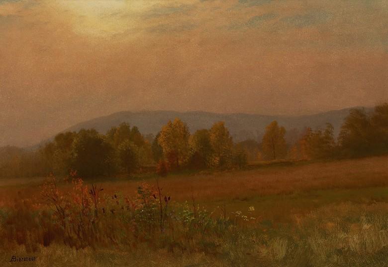 油絵 油彩画 絵画 複製画 アルバート・ビアスタット ニューイングランドの秋の風景 P10サイズ P10号 530x410mm すぐに飾れる豪華額縁付きキャンバス