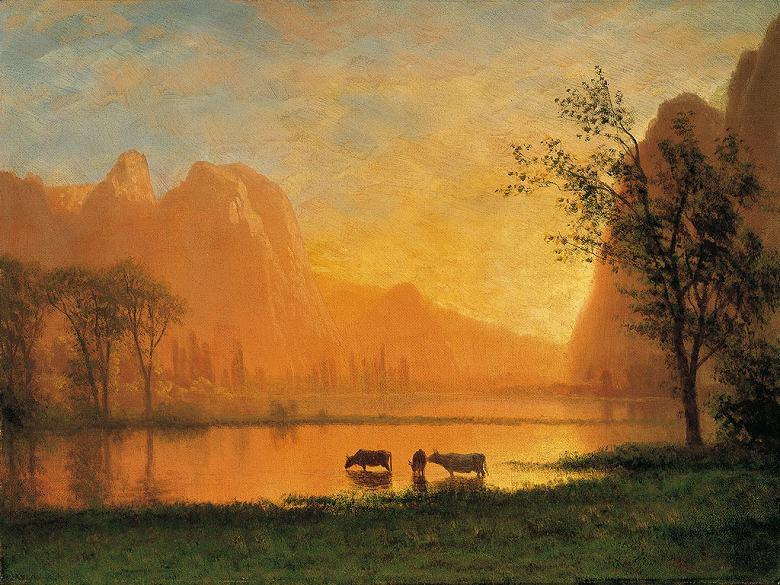 絵画 インテリア 額入り 壁掛け複製油絵アルバート・ビアスタット ヨセミテの日没 P20サイズ P20号 727x530mm 絵画 インテリア 額入り 壁掛け 油絵