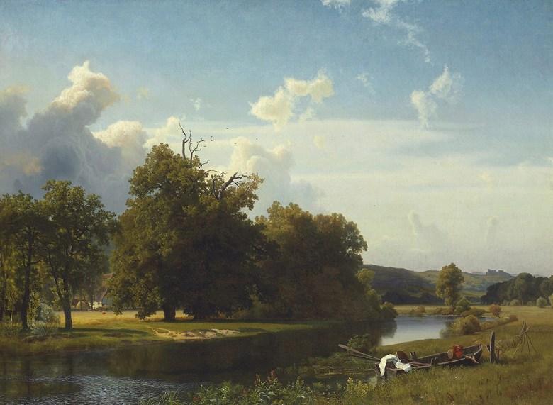 絵画 インテリア 額入り 壁掛け複製油絵アルバート・ビアスタット 川の風景、ヴェストファーレン P20サイズ P20号 727x530mm 絵画 インテリア 額入り 壁掛け 油絵