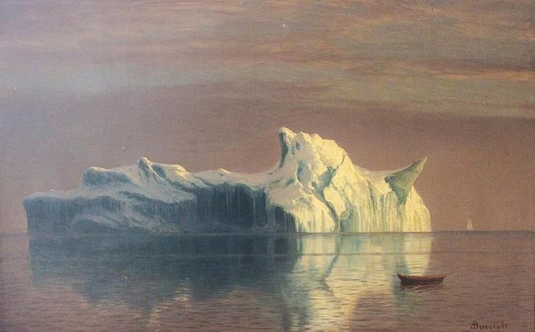 絵画 インテリア 額入り 壁掛け複製油絵アルバート・ビアスタット 氷山 M20サイズ M20号 727x500mm 絵画 インテリア 額入り 壁掛け 油絵