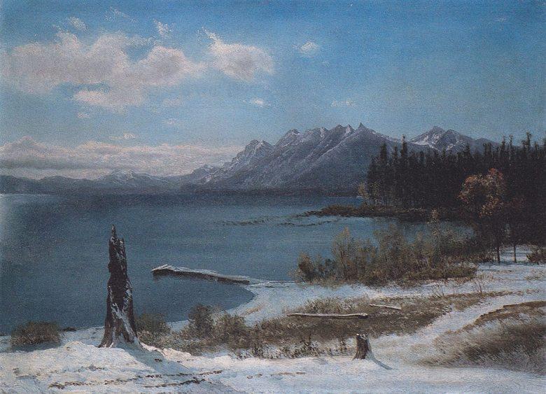 絵画 インテリア 額入り 壁掛け複製油絵アルバート・ビアスタット 冬のタホ湖 P15サイズ P15号 652x500mm 油彩画 複製画 選べる額縁 選べるサイズ