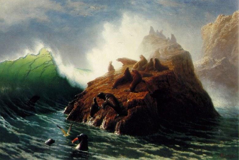 絵画 インテリア 額入り 壁掛け複製油絵アルバート・ビアスタット アザラシのいる岩 M15サイズ M15号 652x455mm 油彩画 複製画 選べる額縁 選べるサイズ