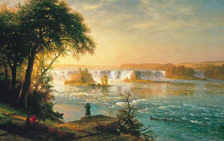 アルバート・ビアスタット セントアンソニー滝 M30サイズ M30号 910x606mm 送料無料 絵画 インテリア 額入り 壁掛け複製油絵アルバート・ビアスタット