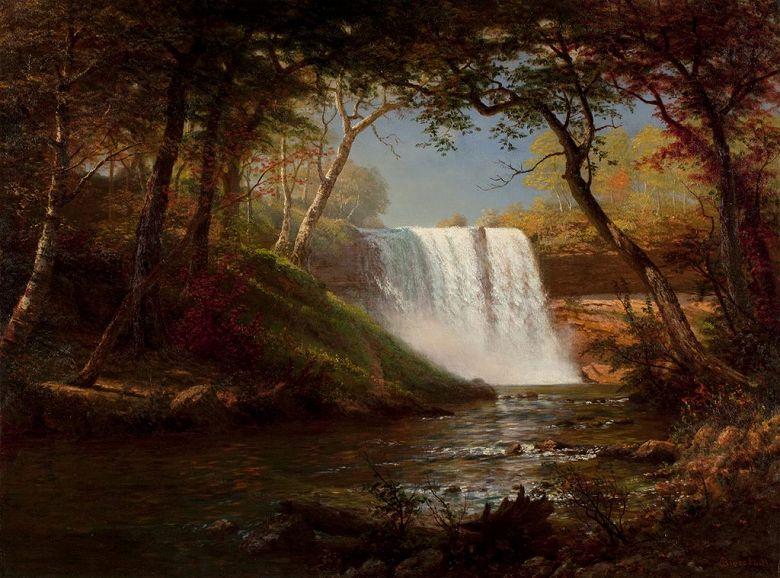 油絵 油彩画 絵画 複製画 アルバート・ビアスタット ミネハハの滝 P10サイズ P10号 530x410mm すぐに飾れる豪華額縁付きキャンバス