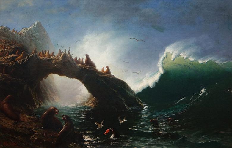 絵画 インテリア 額入り 壁掛け複製油絵アルバート・ビアスタット ファラロン島 M20サイズ M20号 727x500mm 絵画 インテリア 額入り 壁掛け 油絵