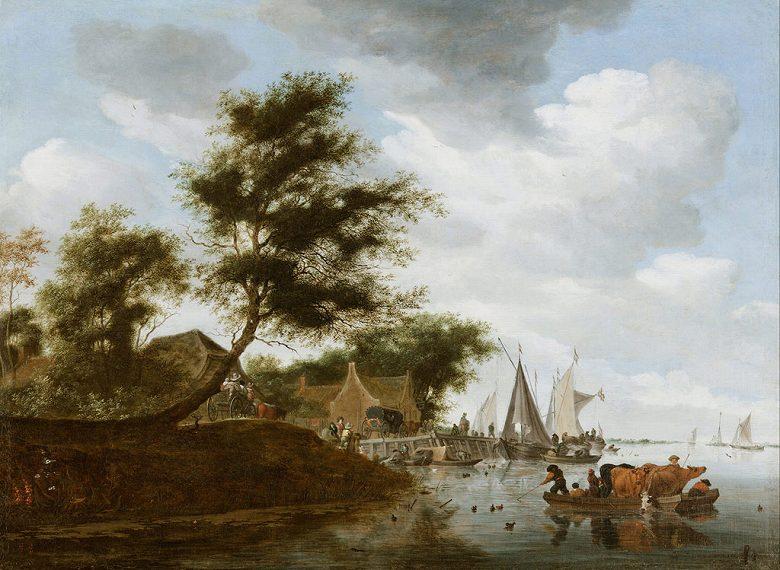 絵画 インテリア 額入り 壁掛け複製油絵サロモン・ファン・ロイスダール 渡し船と川の風景 P15サイズ P15号 652x500mm 油彩画 複製画 選べる額縁 選べるサイズ
