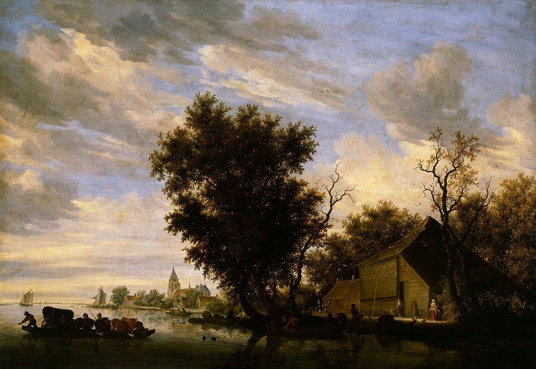 油絵 油彩画 絵画 複製画 サロモン・ファン・ロイスダール 渡し船と川の風景 P10サイズ P10号 530x410mm すぐに飾れる豪華額縁付きキャンバス