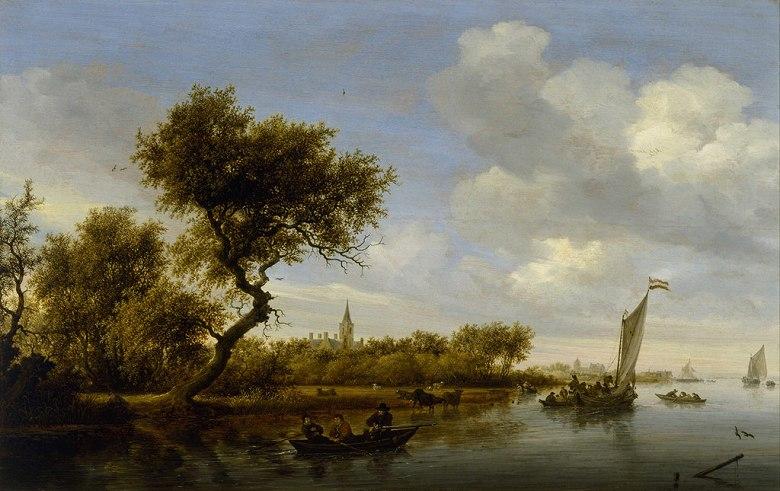 油絵 油彩画 絵画 複製画 サロモン・ファン・ロイスダール 教会と川の風景 M10サイズ M10号 530x333mm すぐに飾れる豪華額縁付きキャンバス