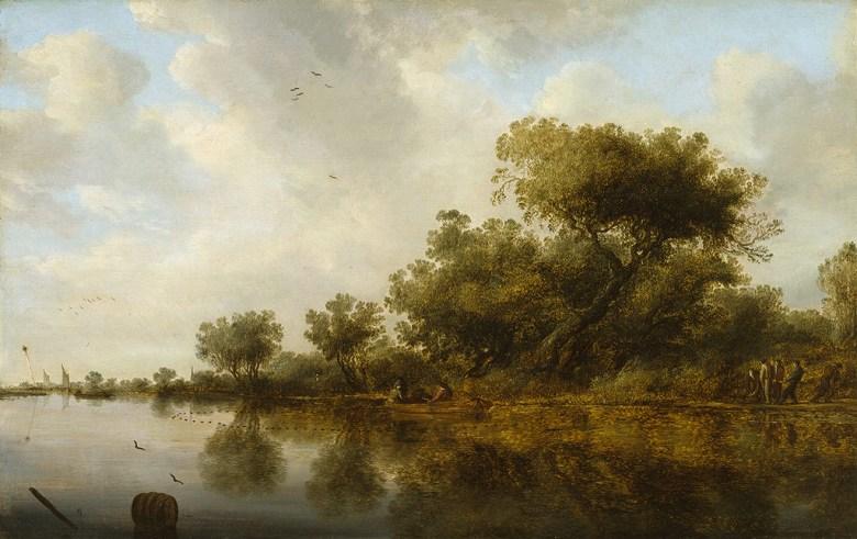 油絵 油彩画 絵画 複製画 サロモン・ファン・ロイスダール 釣り人と川の風景 M10サイズ M10号 530x333mm すぐに飾れる豪華額縁付きキャンバス