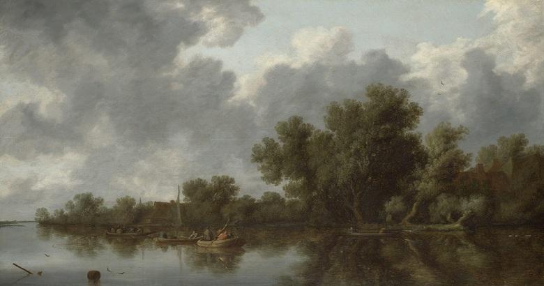 油絵 油彩画 絵画 複製画 サロモン・ファン・ロイスダール 川の風景 F10サイズ F10号 530x455mm すぐに飾れる豪華額縁付きキャンバス